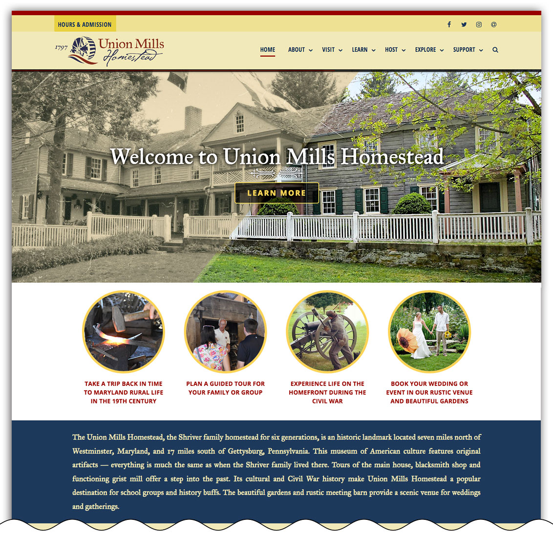 Union Mills Homestead home page
